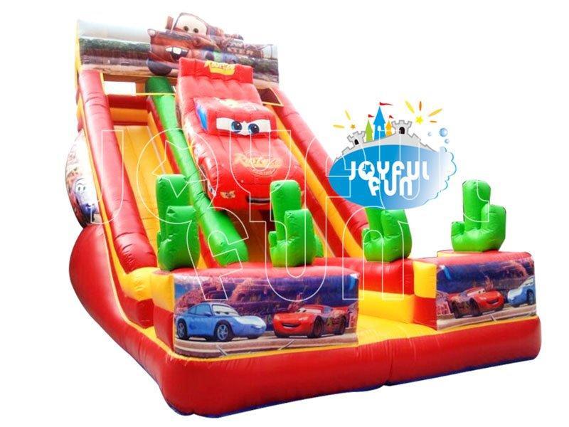 Joyful Fun Cars Cartoon Theme inflatable Double Lanes Slide