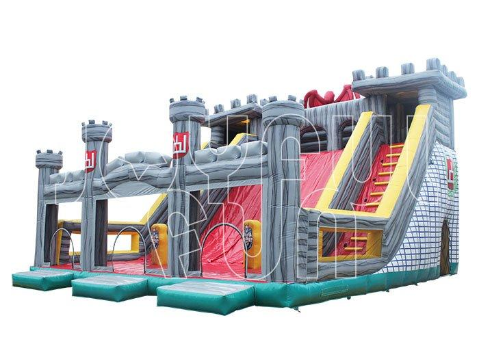 Big Inflatable Castle Playground with Double-lane Slide