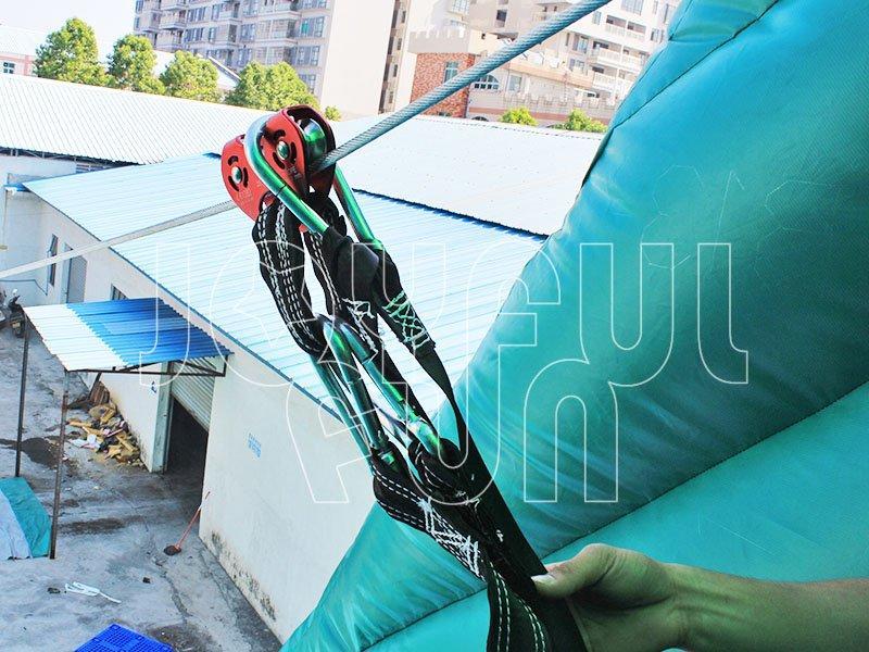 Double-lane Slide Long Inflatable Zip Line Challenge