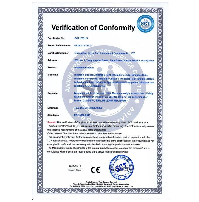 Joyful Fun Inflatable Product CE EN14960 Certificate