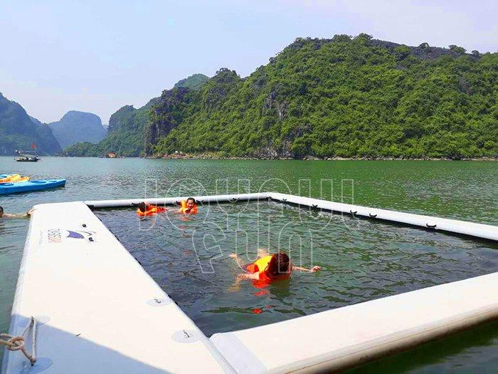High quality inflatable air track floating pool by boat