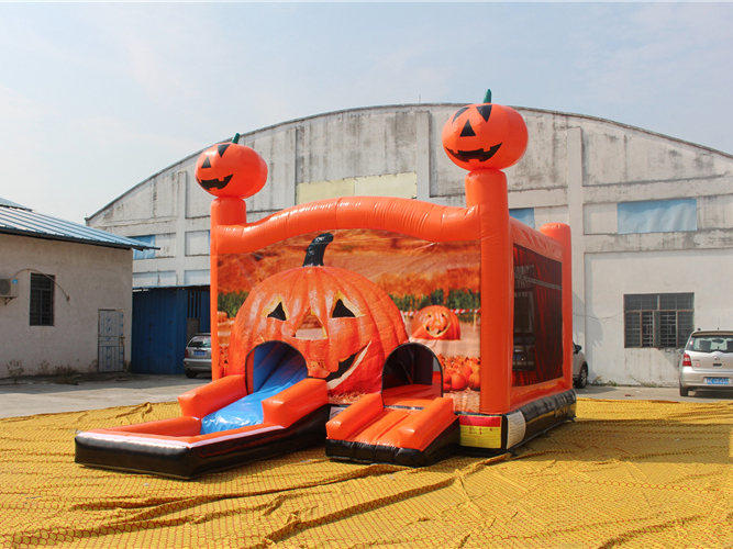 High Quality Halloween Pumpkin Inflatable Water Combo