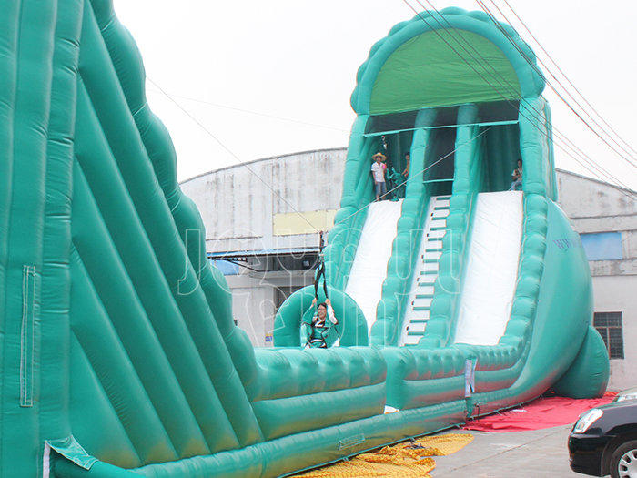 Green Dual Lane Slide Long Inflatable Zip Line