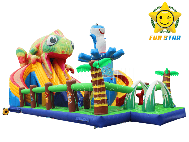 Jungle Chameleon Inflatable Slide Playground