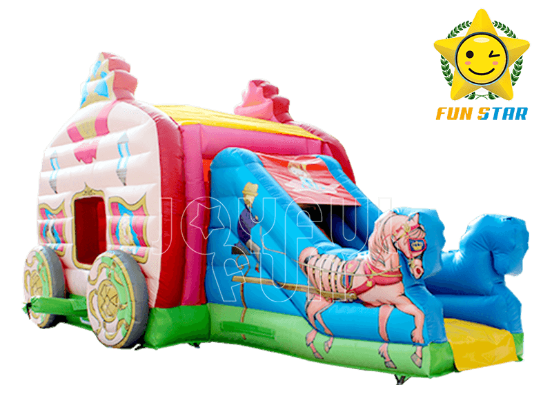 2018 Fantastic Pink Princess Carriage Inflatable Bouncer Combo with Slide