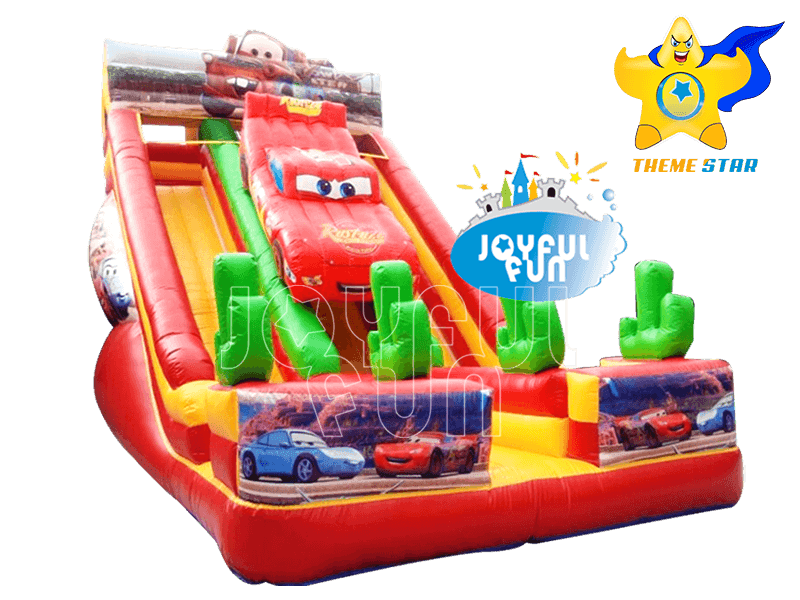 Joyful Fun Cars Cartoon Theme inflatable Double Lanes Slide