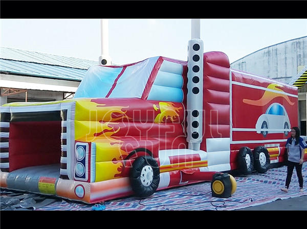 Joyful Fun Good Quality American Truck Inflatable Obstacle Course Video