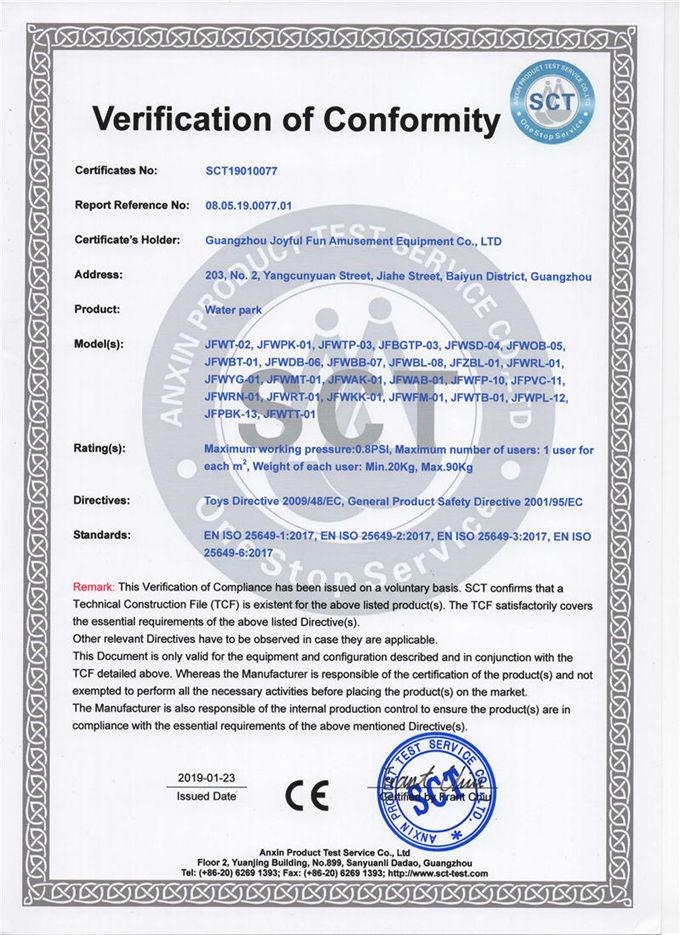 Joyful Fun Inflatable Water Parks CE EN25649 Certificate