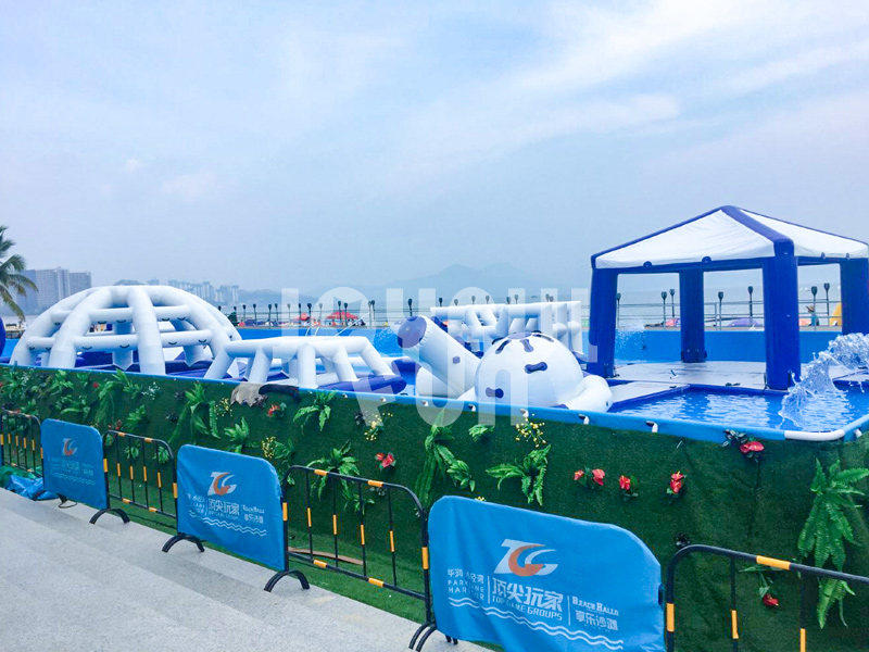 Joyful Fun Steel Pool Inflatable Mega Run Racing Water Park