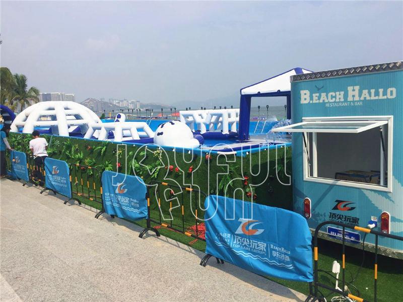 Joyful Fun Steel Frame Pool Mega Run Inflatable Racing Track Beach Water Park