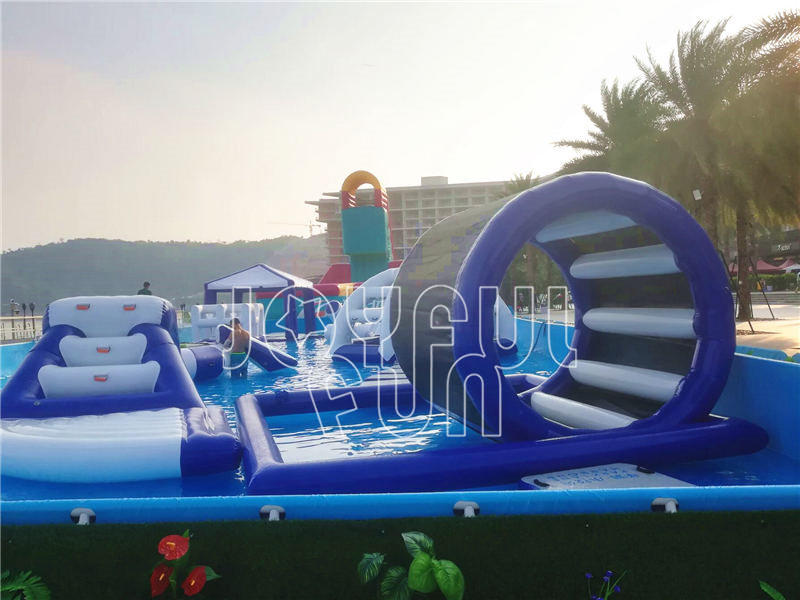 Joyful Fun Steel Frame Pool Mega Run Inflatable Racing Track Beach Water Park