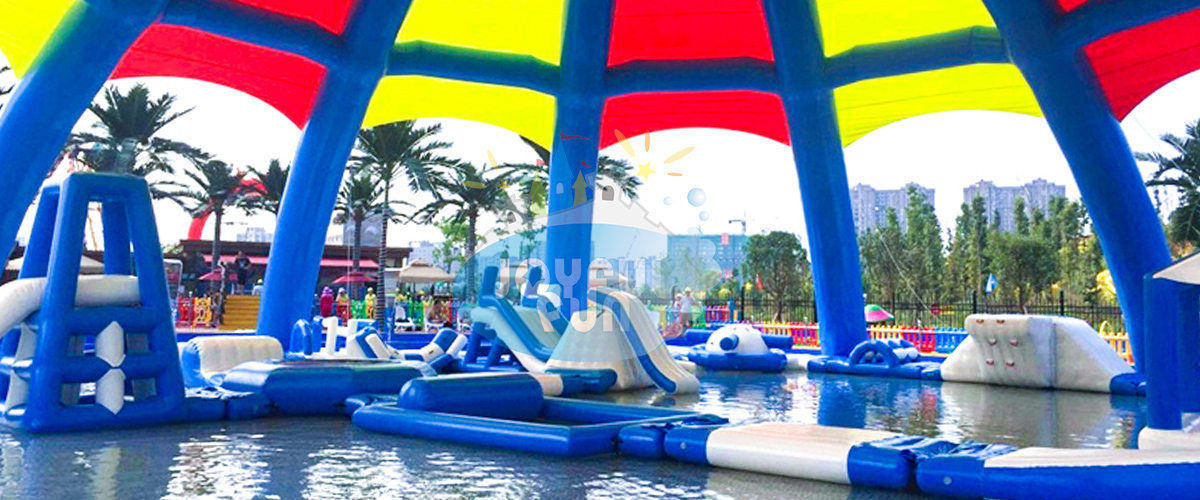 Inflatable Dome Tent and Medium Inflatable Aqua Park For A Theme Park