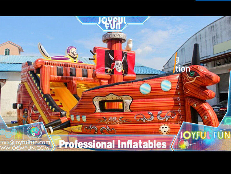 High quality pirate ship inflatable slide playground.